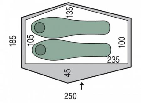 Cort Pinguin Echo 2 DAC, 2 persoane, verde [1]