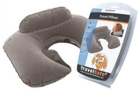 Perna gonflabila pentru calatorie Travelsafe TS0048, 28x42cm, velur, gri [1]