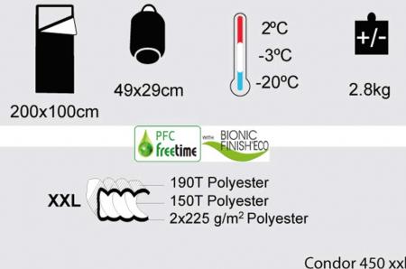 Sac de dormit Freetime Condor 450 XXL (2/-3/-20°C), verde, 200x100cm, 2.8kg, impachetat 49x29cm [1]