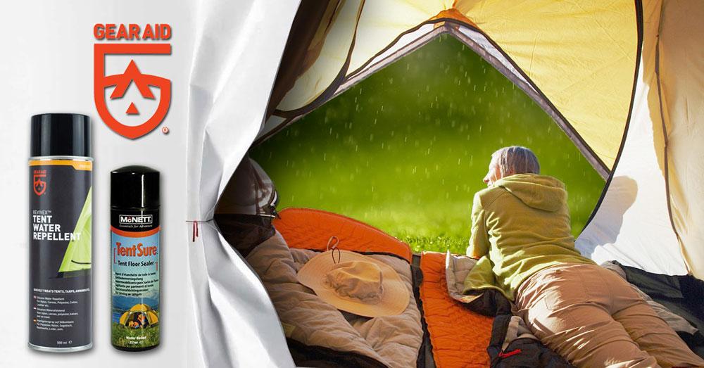 Ca să nu vă prindă vremea capricioasă pe neașteptate, impermeabilizați corturile cu McNett-Gear Aid Revivex sau TentSure