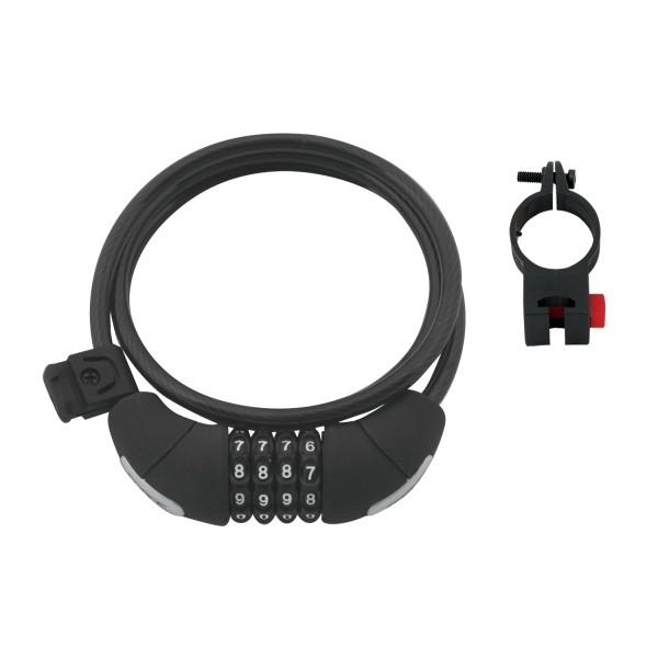 Antifurt cu cifru Force Lux spirala 120cm/8mm cu suport negru [0]