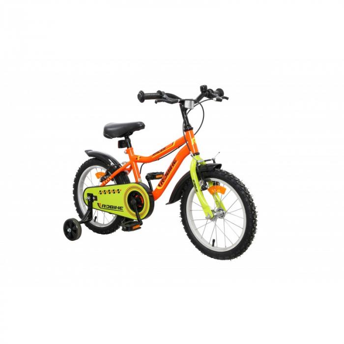 Bicicleta copii Robike Racer 16 portocaliu/verde [1]
