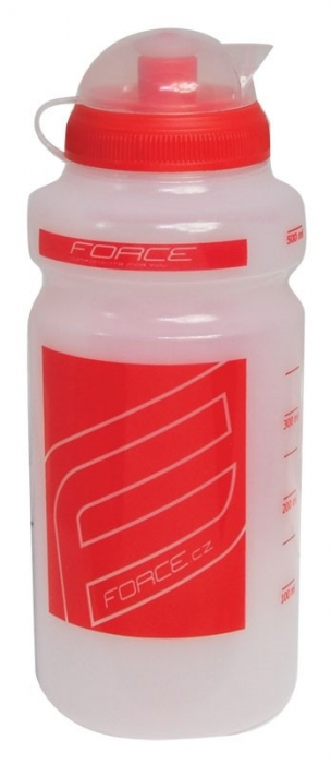 Bidon apa Force F 0.5l transparent/rosu [0]