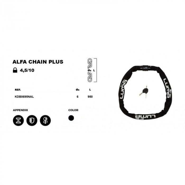 Lacat Luma Alfa Chain Plus 95 cm negru [3]