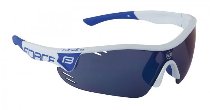 Ochelari Force Race Pro albi lentila albastru laser [0]