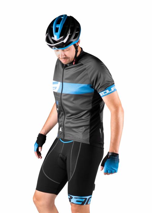 Pantaloni scurti cu bretele Force B30, bazon din gel, Negru/Albastru, L [3]