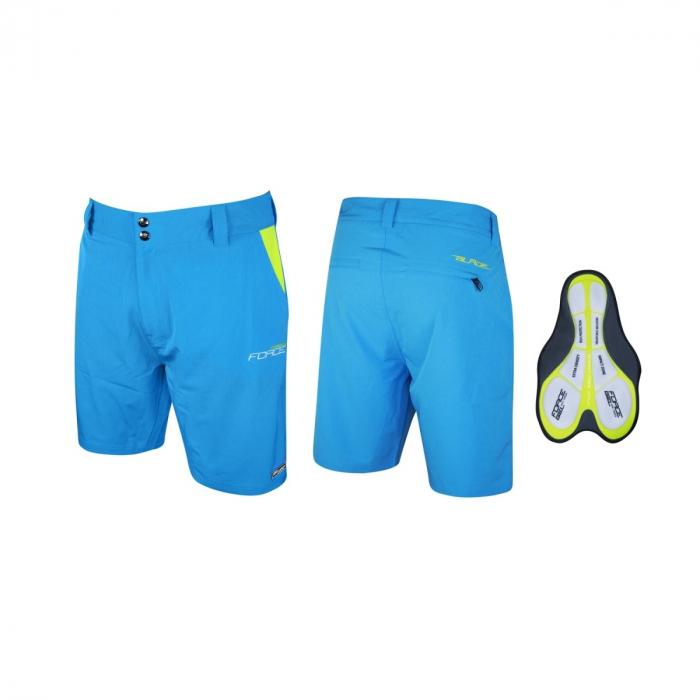 Pantaloni Force Blade MTB cu sub-pantaloni cu bazon Bleu XXL [2]