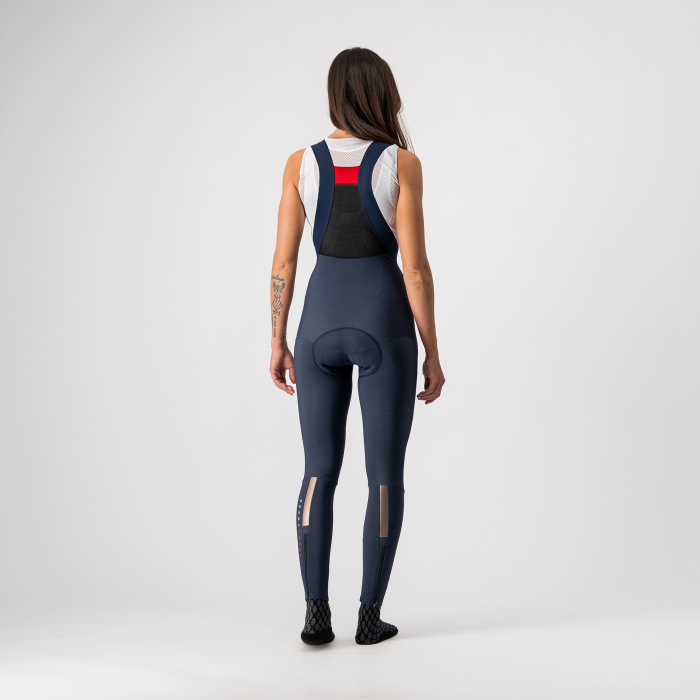 Pantaloni lungi cu bretele Castelli Sorpasso RoS W, de dama, Negru/Corai, L [1]
