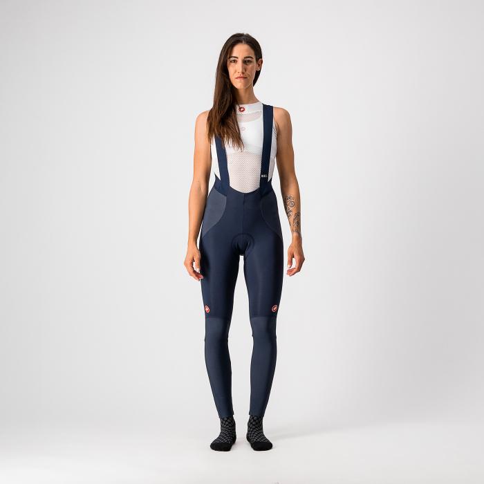 Pantaloni lungi cu bretele Castelli Sorpasso RoS W, de dama, Negru/Corai, L [0]