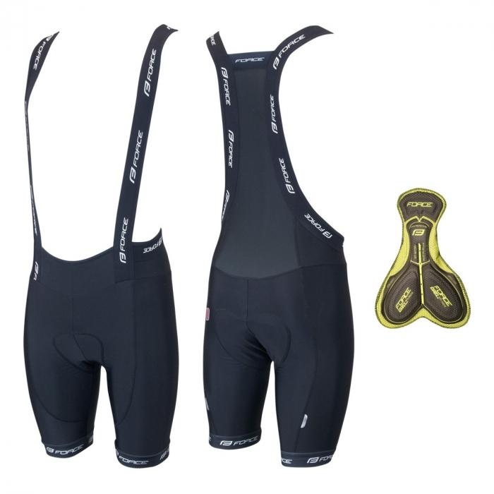 Pantaloni scurti cu bazon si bretele Force B45 negri S [0]
