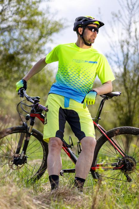 Pantaloni scurti Force MTB-11 cu sub-pantaloni cu bazon galben fluo XS [5]
