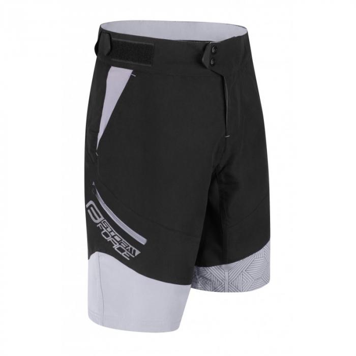 Pantaloni scurti Force Storm pana la talie cu bazon, negru/gri 3XL [0]