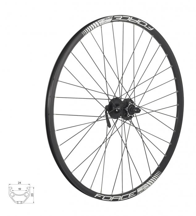 Roata fata 27.5 Force Basic Disc 584x19 neagra [0]