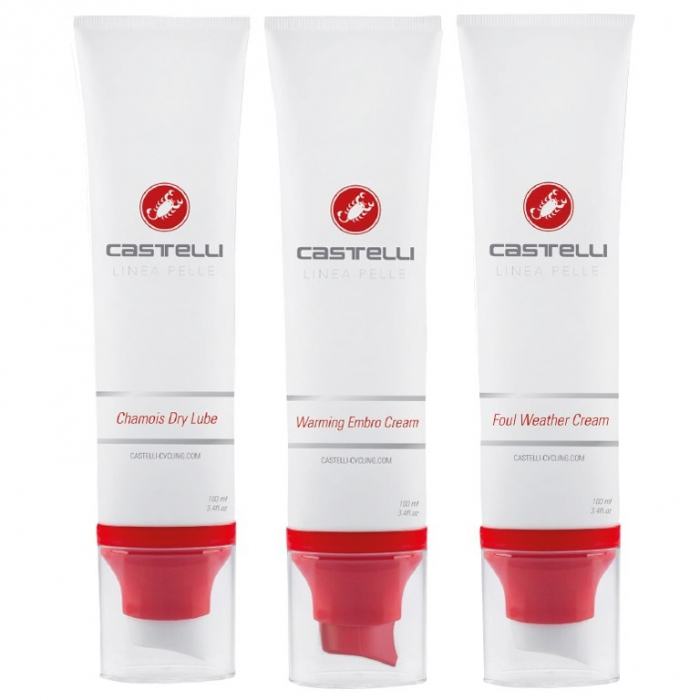 Set Creme Castelli Linea Pelle Combo Pack, Dry Lube + Warming Embro + Foul Weather [0]