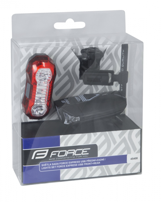 Set lumini Force Express USB, cu acumulator, fata/spate [1]
