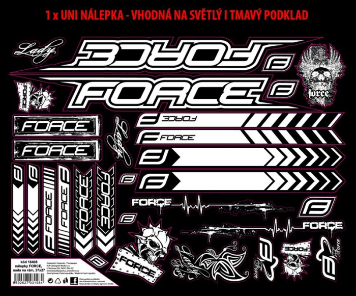 Set Stickere Cadru MTB Logo Force 37X27cm Negru/Alb [0]