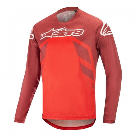 Tricou Alpinestars Racer V2 SS Burgundy/Red/White XL [0]