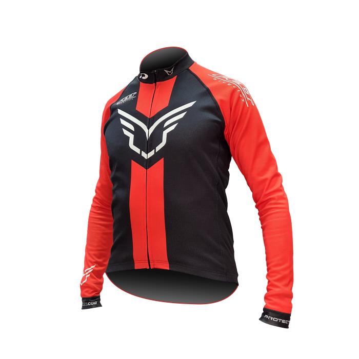 Tricou cu maneca lunga Felt Wing Logo, Negru/Rosu, L [0]