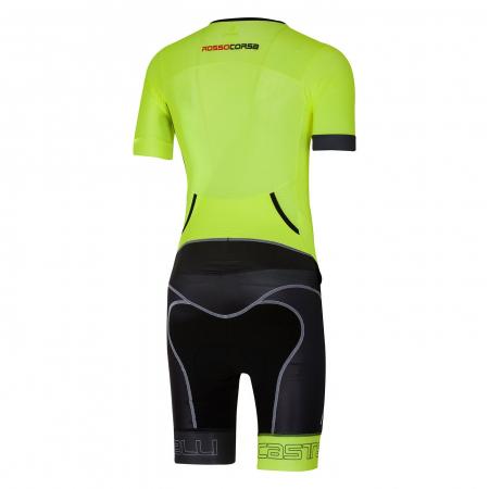Costum de triatlon cu maneca scurta Castelli Free Sanremo SS, Verde/Negru [1]