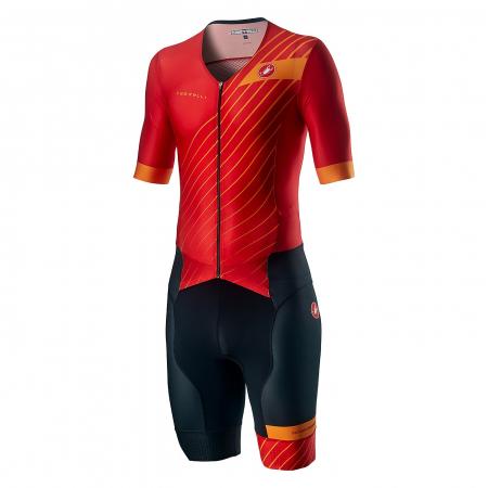 Costum Triatlon cu Maneca Scurta Castelli Free Sanremo SS Suit Negru/Rosu/Portocaliu XXXL [0]