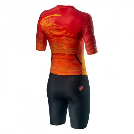 Costum Triatlon cu Maneca Scurta Castelli PR Speed Suit Negru/Rosu/Portocaliu L [1]