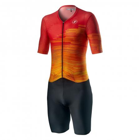 Costum Triatlon cu Maneca Scurta Castelli PR Speed Suit Negru/Rosu/Portocaliu L [0]