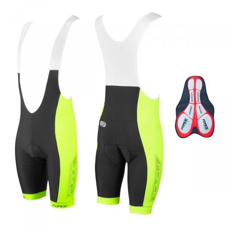 Pantaloni scurti cu bazon si bretele Force B40 negru/fluo XXL [2]