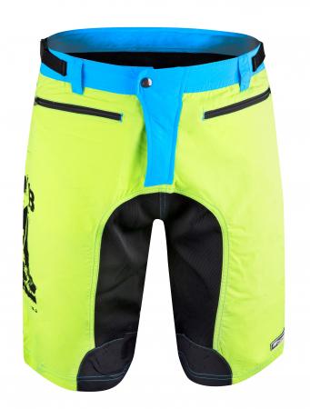 Pantaloni scurti Force MTB-11 cu sub-pantaloni cu bazon galben fluo XS [1]