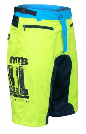 Pantaloni scurti Force MTB-11 cu sub-pantaloni cu bazon galben fluo XS [0]