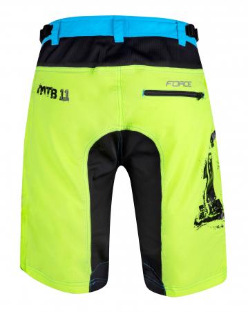Pantaloni scurti Force MTB-11 cu sub-pantaloni cu bazon galben fluo XS [2]
