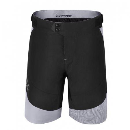 Pantaloni scurti Force Storm pana la talie cu bazon, negru/gri 3XL [1]