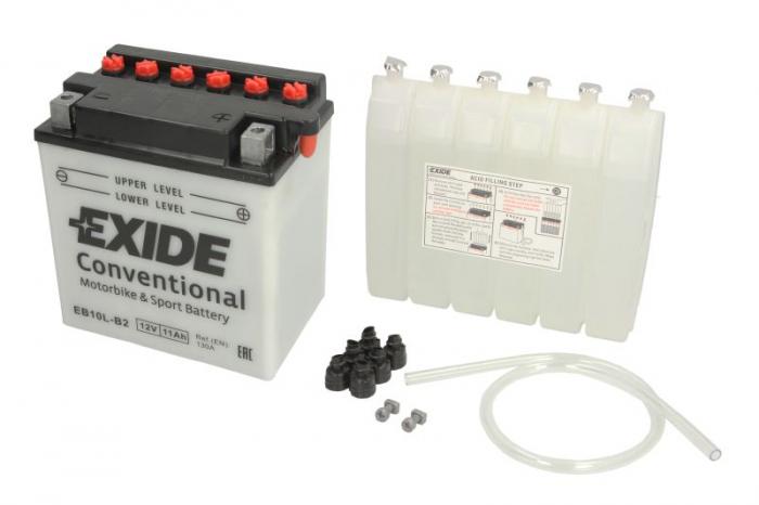 Baterie moto Acid/cu intretinere EXIDE 12V 11Ah 130A R+ aerisire dreapta 135x90x145 Incarcare uscata cu acid  0