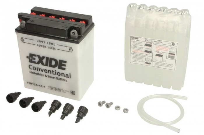 Baterie moto Acid/cu intretinere EXIDE 12V 12Ah 115A L+ aerisire stanga 134x80x160 Incarcare uscata cu acid 0