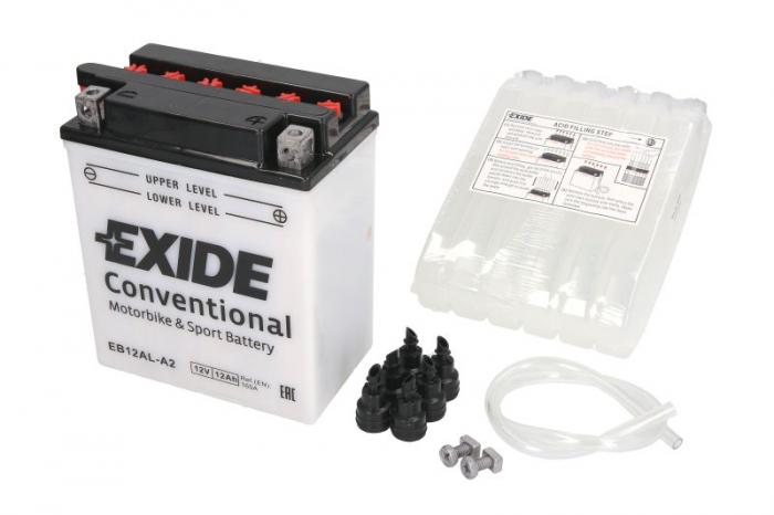 Baterie moto Acid/cu intretinere EXIDE 12V 12Ah 165A R+ aerisire stanga 134x80x160 Incarcare uscata cu acid  0