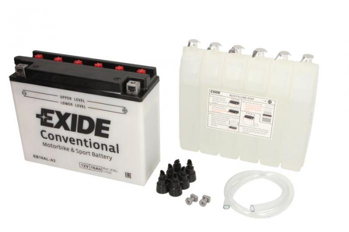 Baterie moto Acid/cu intretinere EXIDE 12V 16Ah 175A R+ aerisire stanga 205x70x162 Incarcare uscata cu acid 0