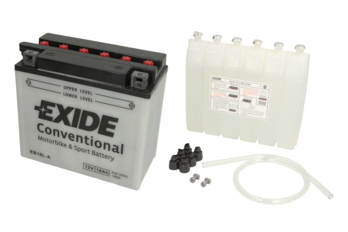 Baterie moto Acid/cu intretinere EXIDE 12V 18Ah 190A R+ aerisire stanga 180x90x162 Incarcare uscata cu acid  0