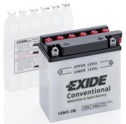 Baterie moto Acid/cu intretinere EXIDE 12V 5Ah 40A R+ aerisire dreapta 120x60x130 Incarcare uscata cu acid 0