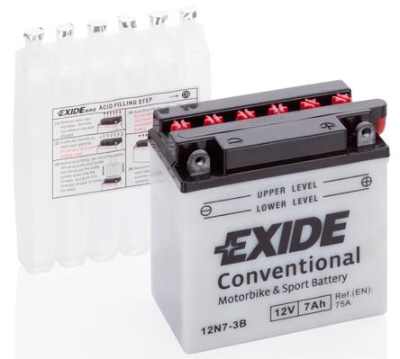 Baterie moto Acid/cu intretinere EXIDE 12V 7Ah 60A R+ aerisire dreapta 135x75x133 Incarcare uscata cu acid  0