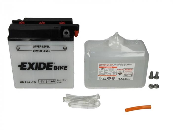 Baterie moto Acid/cu intretinere EXIDE 6V 11Ah 95A R+ aerisire dreapta 121x59x131 Incarcare uscata cu acid  0