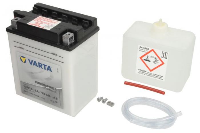 Baterie moto Acid/cu intretinere VARTA 12V 14Ah 190A R+ aerisire stanga 136x91x168 Incarcare uscata cu acid  [0]