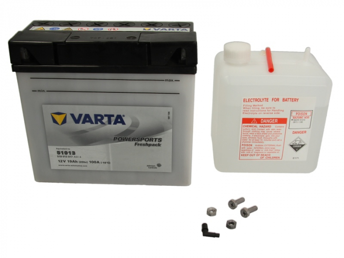 Baterie moto Acid cu intretinere VARTA 12V 19Ah 100A R+ aerisire stanga 186x82x171 Incarcare uscata cu acid