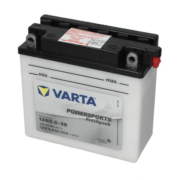Baterie moto Acid/cu intretinere VARTA 12V 5,5Ah 55A R+ aerisire dreapta 136x61x131 Incarcare uscata cu acid  0