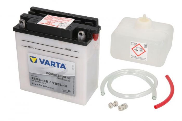 Baterie moto Acid/cu intretinere VARTA 12V 5Ah 60A R+ 121x61x131 Incarcare uscata cu acid  0