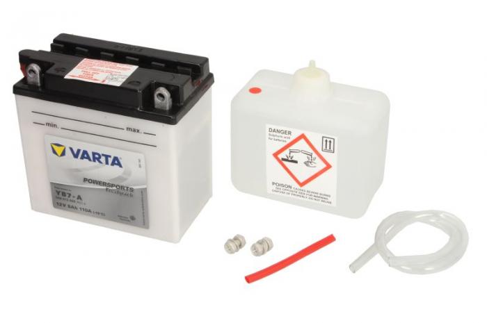 Baterie moto Acid/cu intretinere VARTA 12V 8Ah 110A L+ aerisire stanga 137x76x134 Incarcare uscata cu acid  0