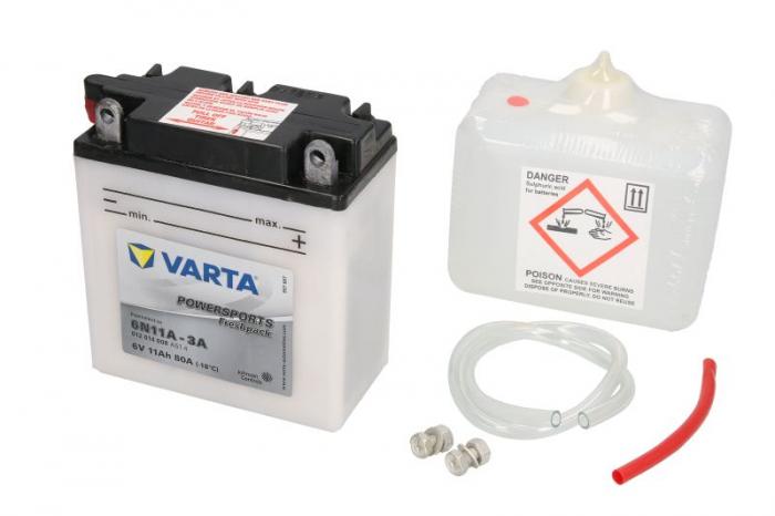 Baterie moto Acid/cu intretinere VARTA 6V 11Ah 80A R+ aerisire stanga 122x61x135 Incarcare uscata cu acid 0