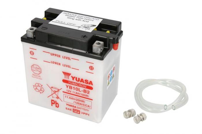 Baterie moto Acid/cu intretinere YUASA 12V 11Ah 120A R+ aerisire dreapta 135x90x145 Incarcare uscata fara acid 0