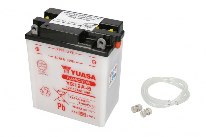 Baterie moto Acid/cu intretinere YUASA 12V 12Ah 150A L+ aerisire dreapta 134x80x160 Incarcare uscata fara acid  0