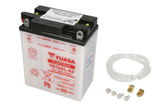 Baterie moto Acid/cu intretinere YUASA 12V 12Ah 150A R+ aerisire stanga 134x80x160 Incarcare uscata fara acid  [0]