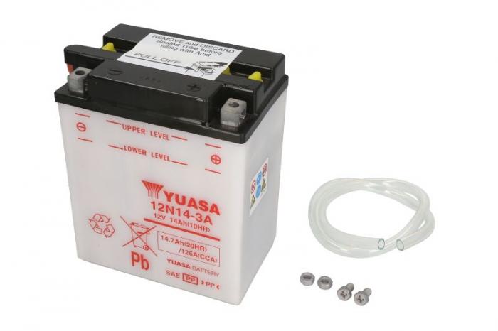 Baterie moto Acid/cu intretinere YUASA 12V 14Ah 125A R+ aerisire stanga 134x89x166 Incarcare uscata fara acid  0