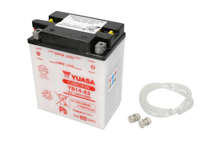 Baterie moto Acid/cu intretinere YUASA 12V 14Ah 175A L+ aerisire stanga 134x89x166 Incarcare uscata fara acid  0